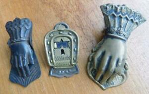 3x Antique Victorian Rare Smaller size ladies hand and Horseshoe Paper Clips