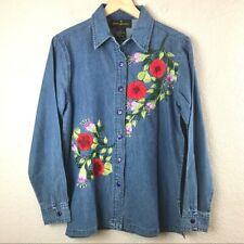 Donna Dewberry Womens S Button Up Floral Embroidered Denim Shirt