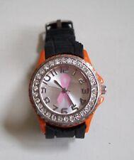 Geneva Pink Ribbon Breast Cancer Awareness Silicone Rhinestone Wrist Watch
