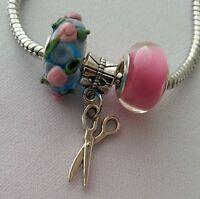 Blue Pink Murano Lampwork Bead Silver Scissor Dangle Charm for European Bracelet