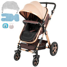 Luxury Baby Stroller 3 in 1 Foldable High View Pram Pushchair Buggy Infant Gold