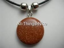 GOLDSTONE Gemstone 20mm Energy ROUND CIRCLE Pendant Necklace Fashion Jewellery