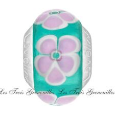 Lovelinks Bead Sterling Silver, Green And Pink Flowers Murano Glass Charm TM564