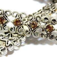 Metal Slider Bead Swarovski Crystals Lt Topaz 2 Hole 10x5mm Strand 12 Beads SB11