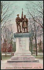 ERIE PA Soldiers & Sailors Monument Antique Postcard Early Vtg Park Town View PC