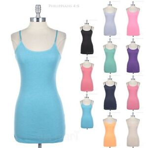 Womens Adjustable Spaghetti Strap Cotton Tank Top Basic Camisole S M L