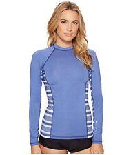 NWT RIPCURL L Juniors Blue Rash Guard Swim Shirt Trestles UV Tee Long Sleeve