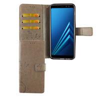 Samsung Galaxy A6 Plus 2018 Funda Estuche Móvil Protector Tapa Gris