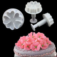 3PCS Heart Flower Icing Fondant Cake Decorating Cutter Plunge Cupcake Craft Mold
