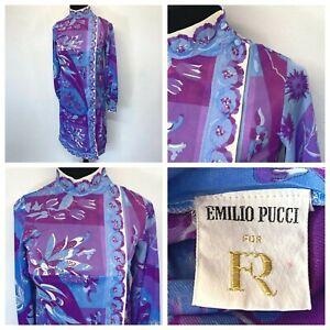 Vintage Emilio Pucci for FR Formfit Rogers sz PS Robe / Nightgown Purple Blue PJ