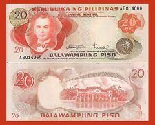 Philippines P150a, 20 Peso, President Quezon / Malakanyang palace, UNC $4 CAT