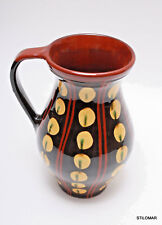 70s Hungaria Folk Country Jug  Yellow Brown Traditional Handmade Pottery