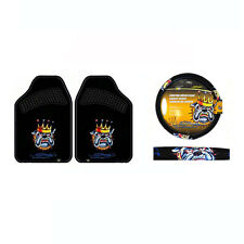 New 3pc Set Ed Hardy King Bulldog Car Truck Steering Wheel Cover & Floor Mats
