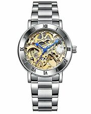 Fashion Women Skeleton Dial Silver Stainless Steel Automatic Mechanical Watches