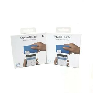 NIB Lot Of 2 Square Credit Debit Card Readers For Apple iPhone And Android White