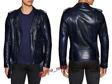 NWT BLK DNM Moto BLUE Mens LEATHER Jacket L LARGE Diesel All Saints Balmain