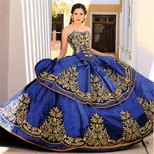 Royal Blue Gold Embroidery Ball Gown Quinceanera Dresses 2017 Masquerade Dresses