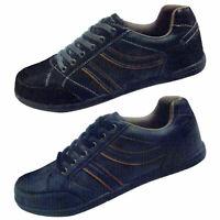 Herren Sneaker Schuhe Turnschuhe Kunstleder schwarz dunkelblau Schnürschuhe