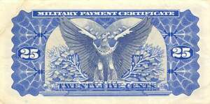 USA / MPC  25  Cents  1969  Series  692 Plate # 42  Circulated Banknote M6