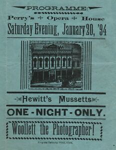 RARE Program w Advertising - Graphics- 1894 Perry Opera House Theater Albia Iowa