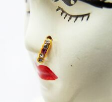 Indian Bridal Nath Golden Hoop Nose Ring Stud Nose Pin Body Non Piercing Jewelry