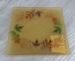 Yankee Candle Medium Glass FROSTED LEAF Candle Tray Plate- AS IS