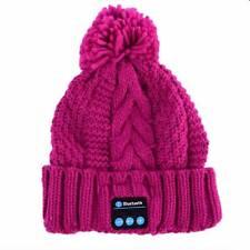 Bluetooth Mütze Zipfelmütze Lila Kopfhörer Drathlos Headset Strickmütze