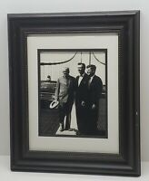 Vtg JFK John F Kennedy President on Bridge Framed Picture Photograph Wall Decor