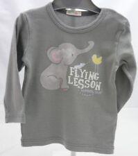 BENETTON BABY tee-shirt garçon gris motif éléphant manche longue 3-6 mois