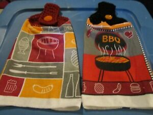 2 HANDMADE CROCHETED TOP HANGING KITCHEN TOWEL BBQ