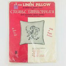 Vintage Crewel Embroidery Kit Linen Pillow Bird Flowers 12x12