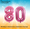 """Giant 80th Birthday Party 40"""" Foil Balloon Helium Air Decoration Age 80 PINK"""