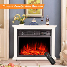 Wall Mounted Electric Fireplace Glass Heater Fire Remote Control LED Backlit # 1800w