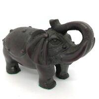 Vintage Burgundy Decorative Resin Asian Elephant Ornament 4 inch Tall Figurine