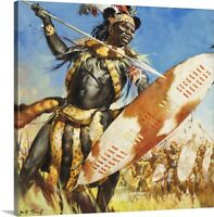Zulu Warrior Canvas Wall Art Print, History Home Decor