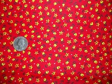 Vintage 1950's 60s Red Orange Yellow Floral Cotton Calico Fabric Quilt Apron