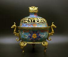 "6"" Chinese Antiques cloisonne aulic dragon brass CENSER Incense Burner"