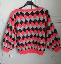 Vintage 80s Hand Knit Jumper Diamond Colour-Block Novelty 10 12