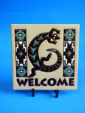 Ceramic Art Tile 6x6 Southwest Lizard Gecko welcome tile with stand blk turq J10