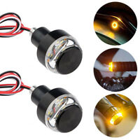 Motorcycle Turn Signal LED Light Indicator Blinker Handle Bar End Handlebar 2pcs