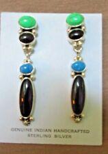 Navajo Sterling w/ Jet, denimTurquoise Earrings by Pat Platero (Deceased) JE481