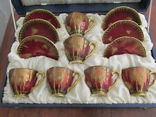 Boxed Set 6 Crane Rouge Royale Carlton Ware Coffee Cups and Saucers 1940s