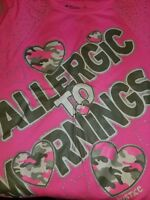 """Justice """"Allergic to Mornings"""" follow your dreams girls size 10 top"""