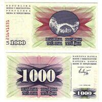 Banknote - 1992 Bosnia & Herzegovina, 1000 Dinara, P15 UNC, Bridge.