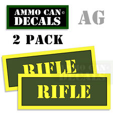 RIFLE Ammo Can Box Decal Sticker bullet ARMY Gun safety Hunting Labels 2 pack AG