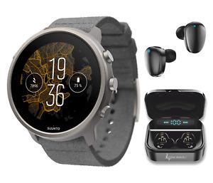 Suunto 7 GPS Sports Smartwatch Stone Gray Titanium with EarBuds Power Bundle