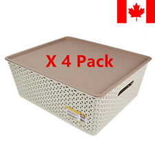 Sortwise® 4PK Plastic Weave Laundry Basket Bedroom Storage Tote, Khaki