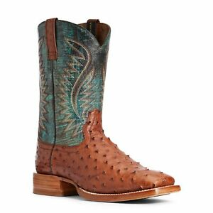 Ariat® Men's Gallup Roaring Turquoise Ostrich Exotic Boots 10034113