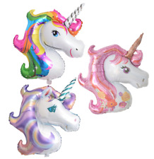 "Supershape 42"" Unicorn Head Foil Rainbow Purple Pink Balloon Birthday Party"
