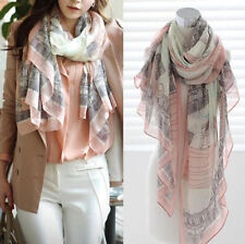 Eiffel Tower Long Print Cotton Scarf Wrap Shawl WOMEN Large Silk Scarves HS
